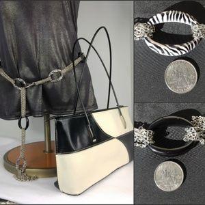 80s Black & White leather purse w chain belt